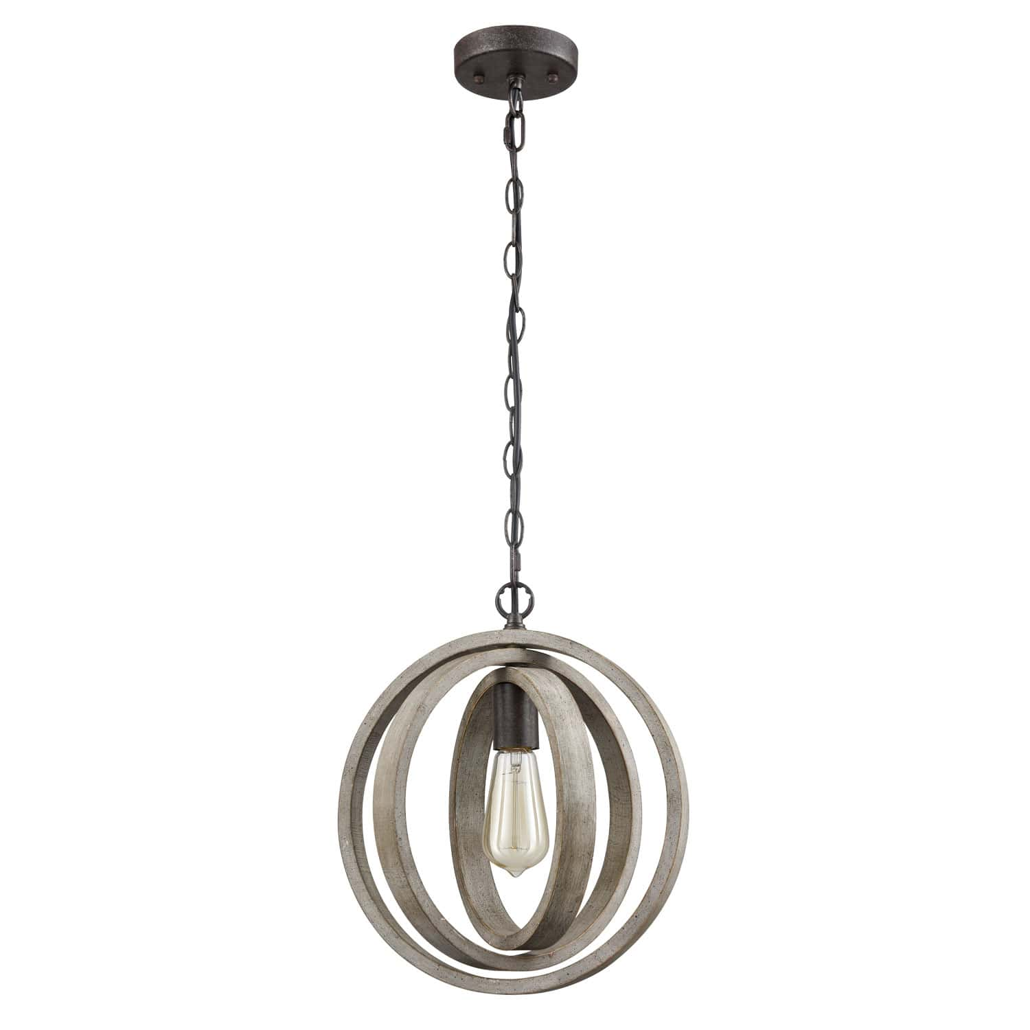 Rustic Pendant Chandelier with Globe Wood Shade - 1 Light