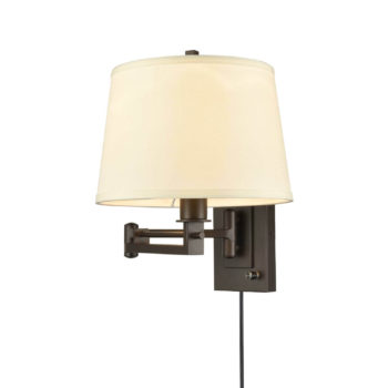 Swing Arm Wall Lights Fabric Shade Hardwired and Plug in Light
