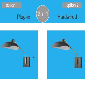 Swing Arm Wall Sconces Modern Black Plug-in Wall Lamp with USB Charge Port