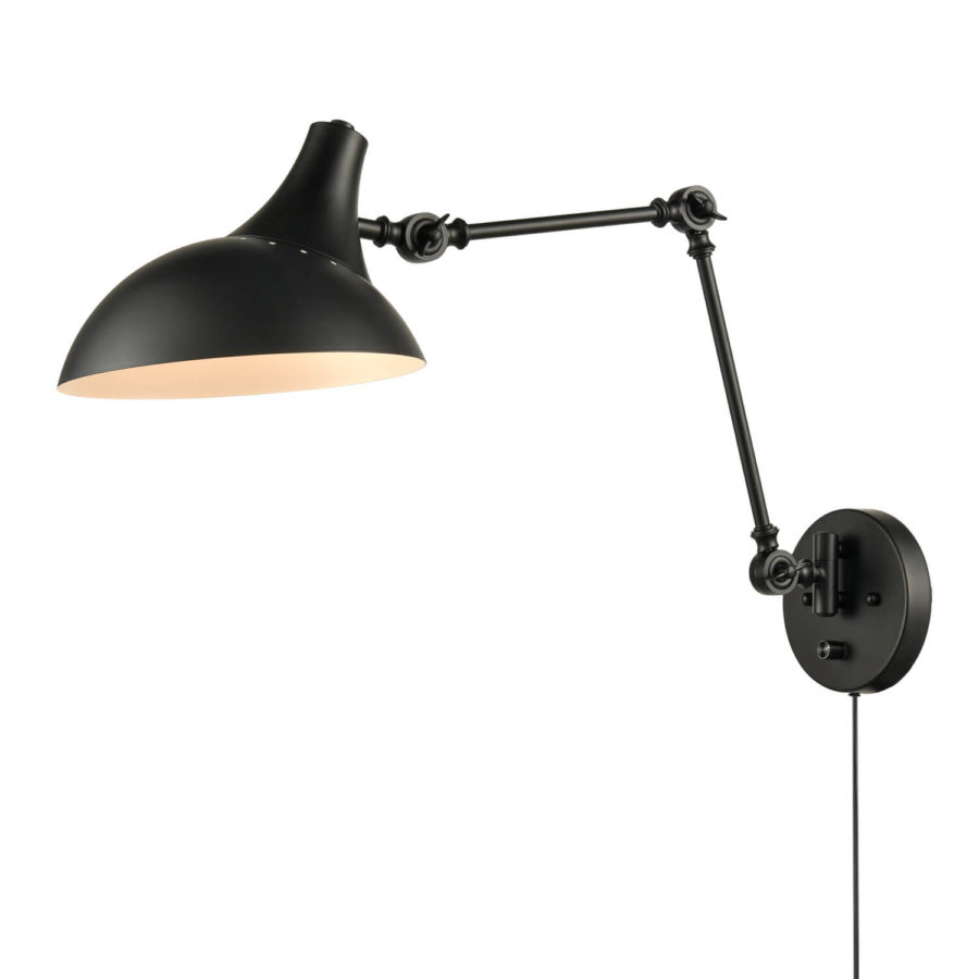 Industrial Black Plug-in Wall Lights Swing Arm Bedroom Fixture