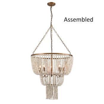 Rustic Wood Beaded Chandelier Tiered Basket Shape - 5 Light