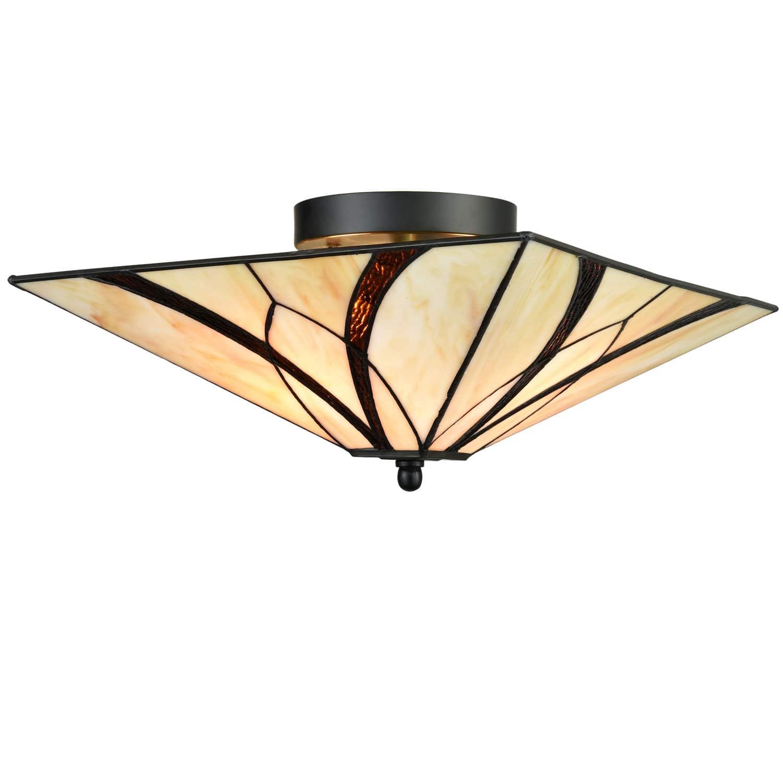 Tiffany Mission Antique Brass Semi Flush Ceiling Lights