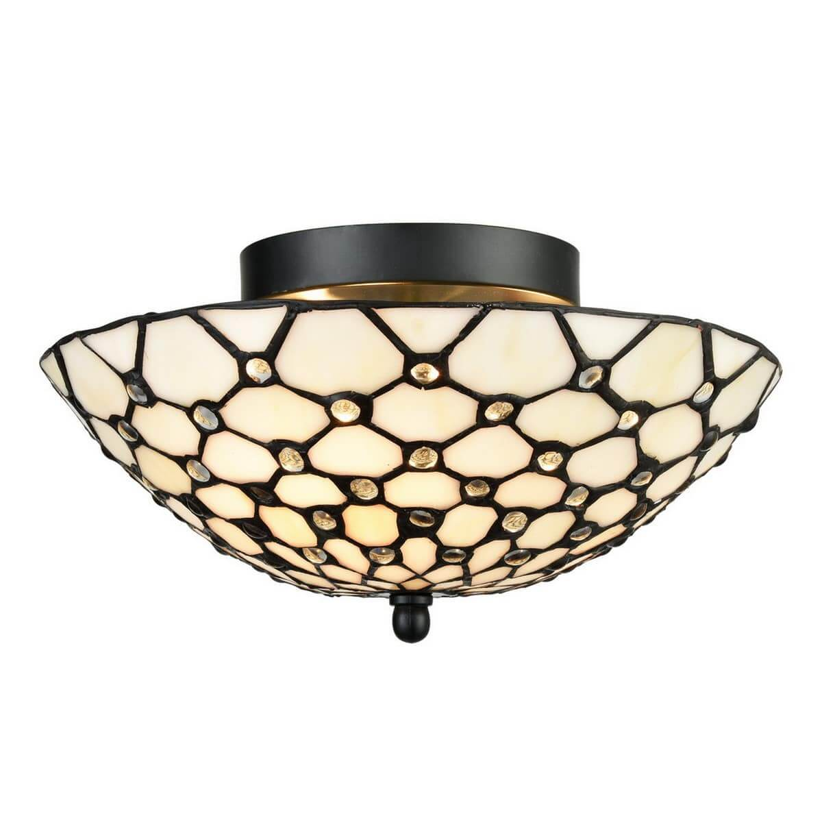 Tiffany Stained Glass Semi Flush Ceiling Light Antique Brass Shade