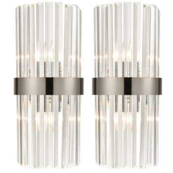 Titanium Black and Clear Glass Wall Sconces Lighting 2-Pack