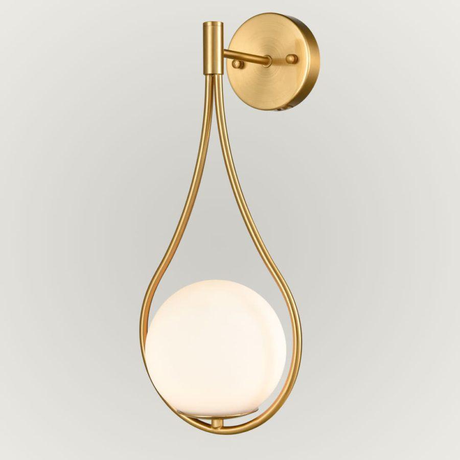 Modern Brass Globe Wall Sconce with Opal Glass Shade