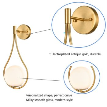 Modern Brass Wall Sconce with Opal Globe Glass Shade 2-Pack