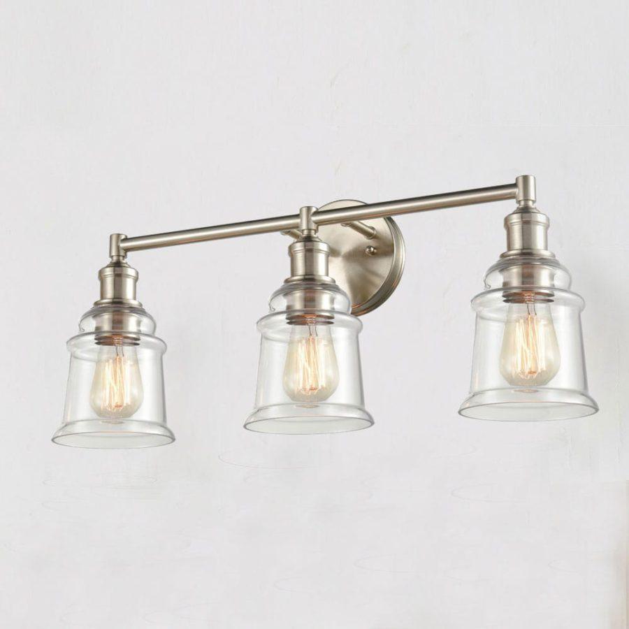 Vintage Bath Vanity Light 3-Light Wall Sconce Brushed Nickel Finish