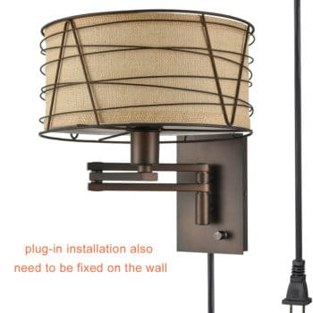 Vintage Bronze Plug in Wall Lights Fabric Swing Arm Sconce