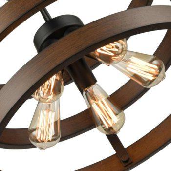 Industrial Circular Round Wood Ceiling Lights Flush Mount