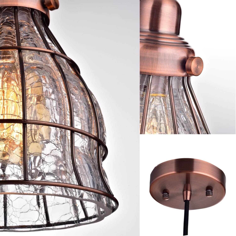 Vintage Cracked Glass Pendant Lights Red Antique Copper