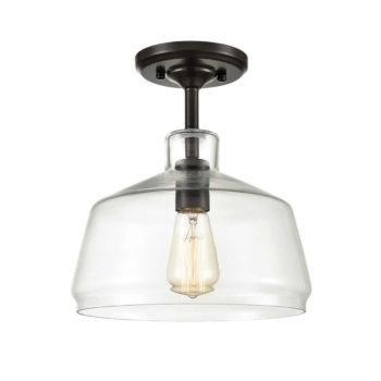 Vintage Barn Glass Semi Flush Mount Ceiling Light Oil Rubbed Bronze