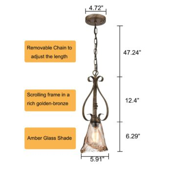 Vintage Glass Pendant Light Mini Kitchen Light with Amber Glass