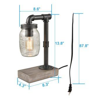 Vintage Mason Jar Table Lamp Disressed Wooden Base Reading Lamp