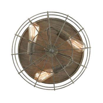 Vintage Metal Flush Mount Ceiling Light Dark Grey Wire Cage Shade