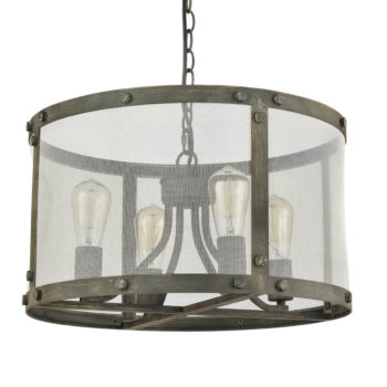 Vintage Drum Shade Chandelier in Metal Mesh, Stained Slate