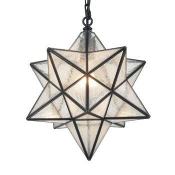 Moravian Star Pendant Light 14-inch Seeded Glass Shade