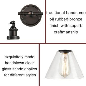 Industrial Bronze Wall Sconce 2 Light Glass Bath Vanity