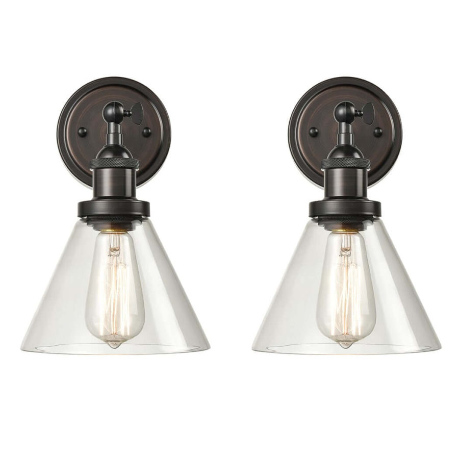 Industrial Bronze Plug in Wall Lights Swing Arm 2 Pack Fixture