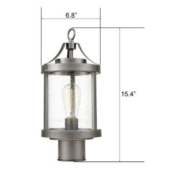 Vintage Outdoor Pole Light Seeded Glass Post Lantern Light Fixture