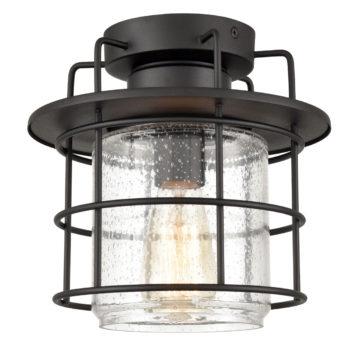 Vintage Outdoor Semi Flush Mount Ceiling Light Seeded Glass,Matte Black