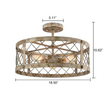 Vintage Drum Semi Flush Ceiling Light Metal Cage Shade