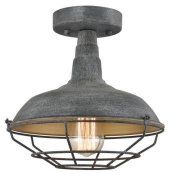 Metal Cage Semi-Flush Ceiling Lights Vintage Stained Finish