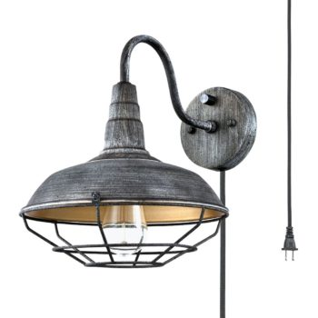 Farmhouse Metal Cage Plug-in Wall Light Distressed Blue