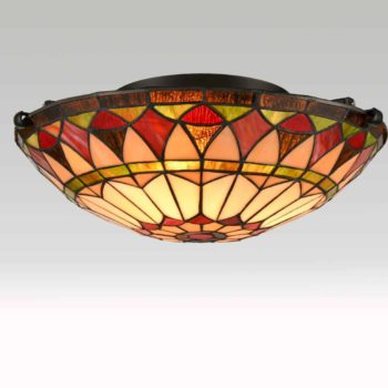 Tiffany Stained Glass Colorful Semi Flush Ceiling Light