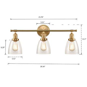 Industrial Brass Glass Bathroom Wall Sconces 3-Light
