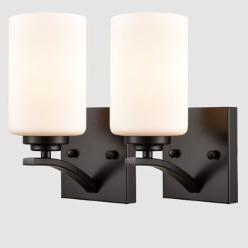 Wall Sconce Set of 2 Cylinder Glass Vanity Lights Black Wall Lighting