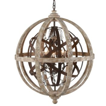 Farmhouse Weathered Wooden Globe Pendant Chandelier-Large