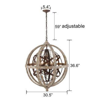 Farmhouse Weathered Wooden Globe Pendant Chandelier-Large