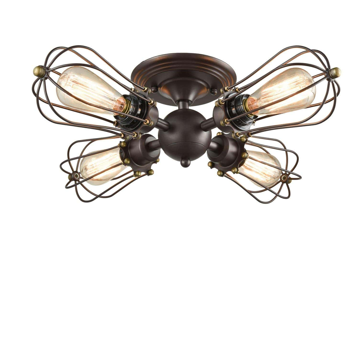 Vintage Wire Cage Semi-flush Mount Ceiling Light 4 Light