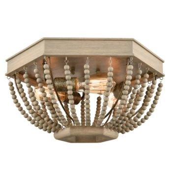 Rustic Wood Beaded Ceiling Light Distressed Gray Fixture