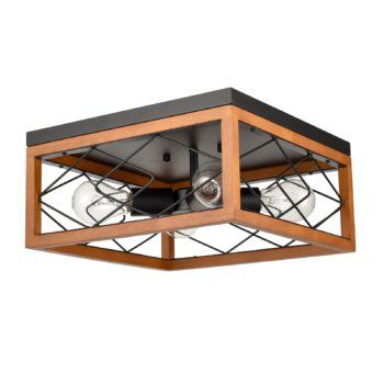 Farmhouse Flush Mount Ceiling Light 4-Light Metal and Wood Light Fixture