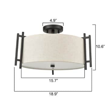 Industrial Semi Flush Mount LED Ceiling Light with Drum Linen Shade