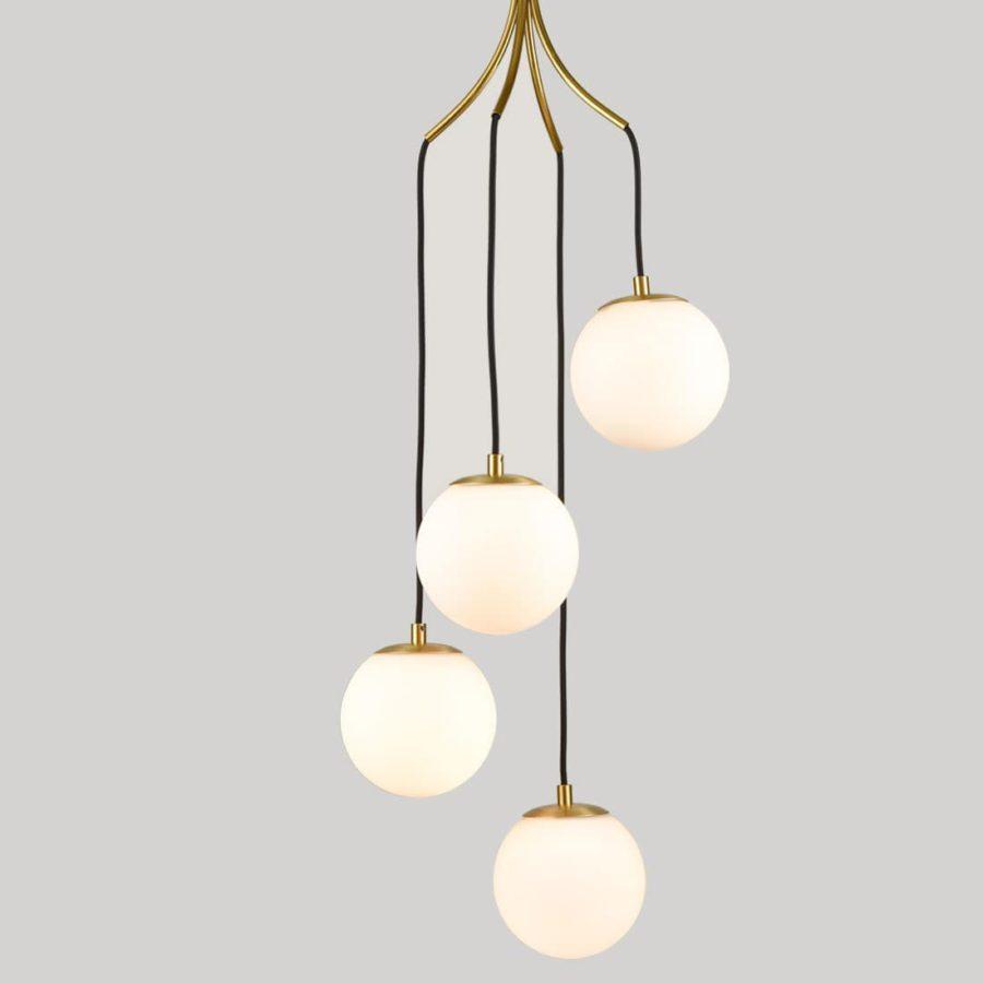 Mid Century Pendant Lighting 4-Light Brass Globe Glass Chandeliers