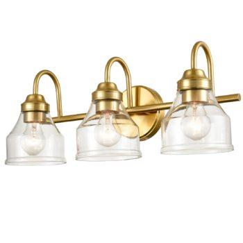 Modern Brass Bathroom Light Fixture 3-Light with Clear Glass Shade