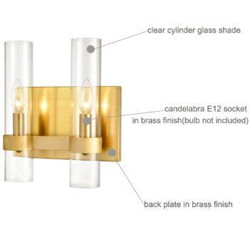 Modern Brass Wall Light with Clear Glass Bathroom Light Fixture