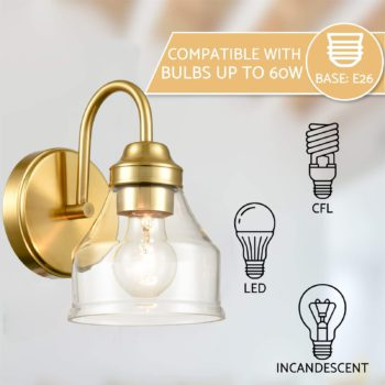 Modern Brass Wall Sconce Bathroom Light Fixture with Clear Glass Shade