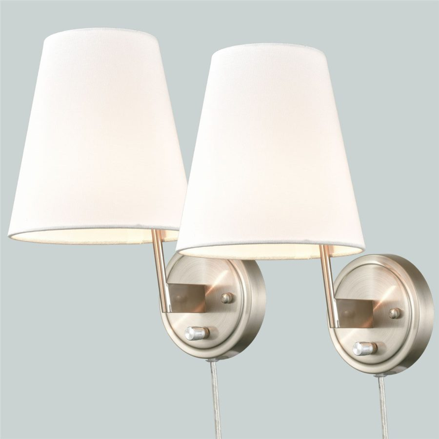 Modern Fabric Plug-in Wall Lamps Set of 2, Brushed Nickel