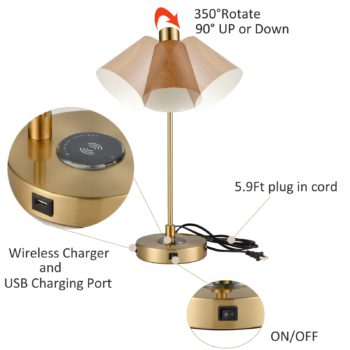 Modern Table Lamp with Wireless Charger and USB Charging Port