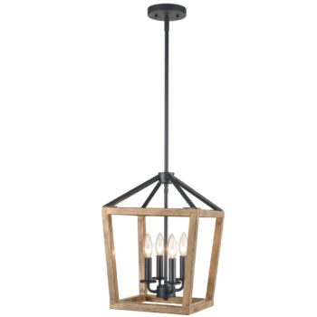 Rustic 4-Light Candle Chandelier Metal Pendant Light Wood Finish