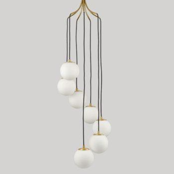 Mid Century Pendant Lighting Brass Globe Glass Chandeliers 7-Light