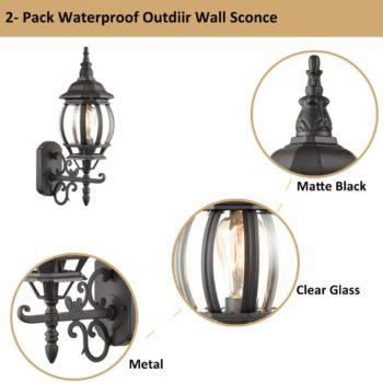 2-Pack Industrial Wall Light Waterproof Exterior Sconce Matte Black