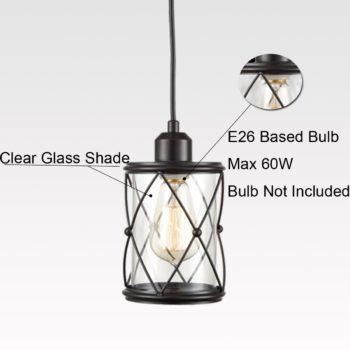 Black Pendant Lighting for Kitchen Island Mini Clear Glass Shade