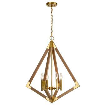 Farmhouse Modern Brass Wooden Pendant Lighting Dining Room Light