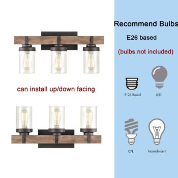Farmhouse Wood Wall Sconce with Clear Glass Shades 3 Lights