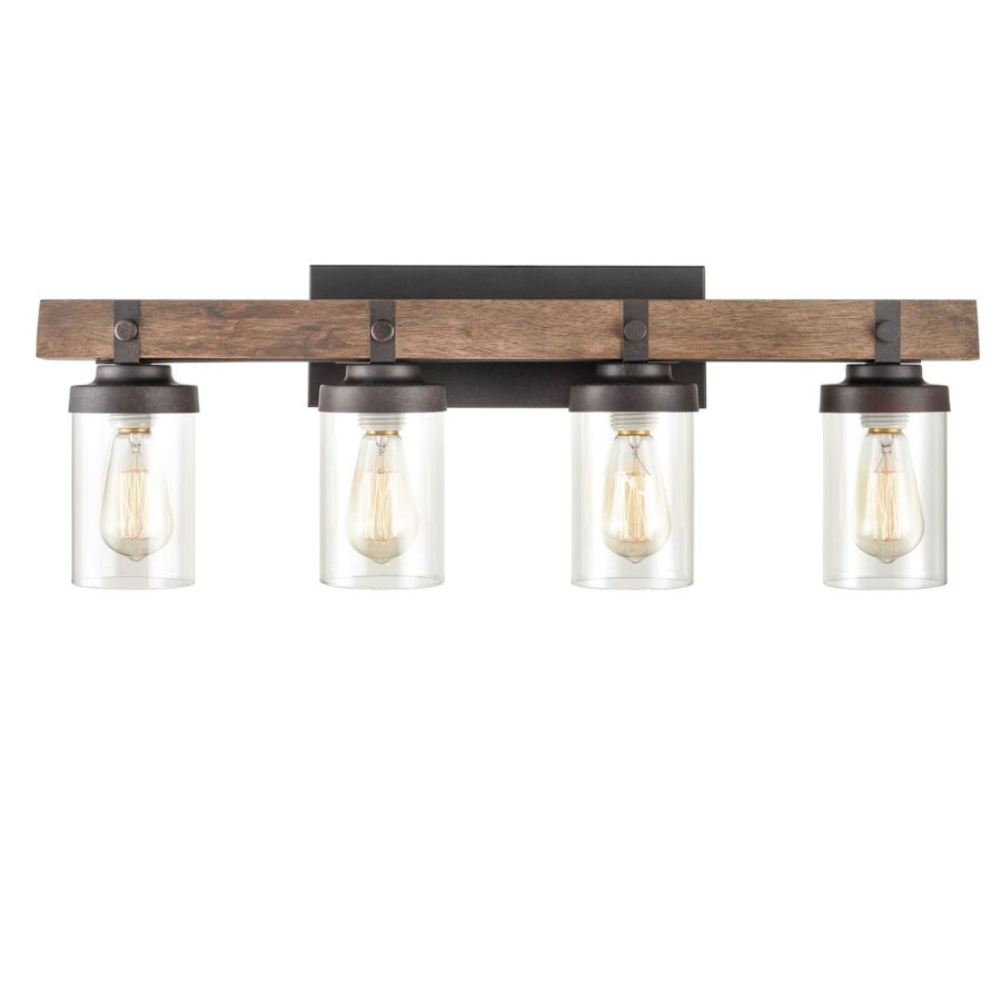 Farmhouse Wood Wall Sconce with Clear Glass Shades 4 Lights