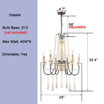 Handmade Distressed Candle Chandelier with 6 Lights